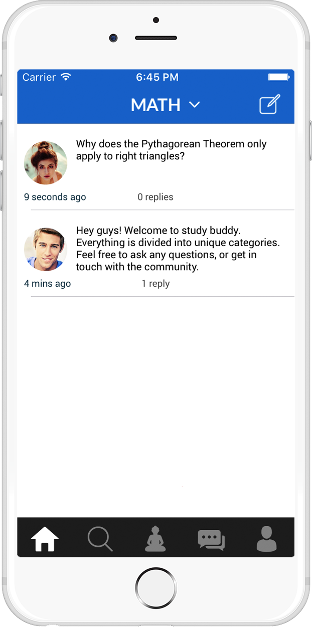Study Buddy App Home Page Screenshot